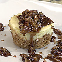 COCONUT CHEESECAKE WITH BOURBON PECAN CARAMEL