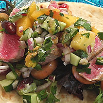 GRILLED YELLOWTAIL TACOS WITH MANGO SALSA