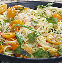 CAPELLINI PASTA WITH FLORIDA ROCK SHRIMP, HEIRLOOM TOMATOES, AND CHILES