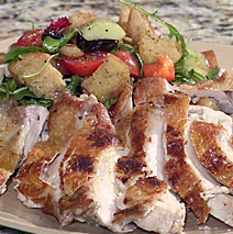 PAN SEARED WHOLE BONELESS CHICKEN WITH  PANZANELLA SALAD