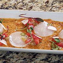 HEIRLOOM TOMATO AND WATERMELON GAZPACHO WITH SCALLOPS CRUDO