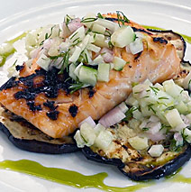 GRILLED BRINED SALMON AND EGGPLANT WITH FENNEL CUCUMBER RELISH