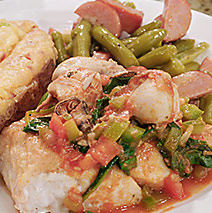 MARINATED GREEN BEANS WITH ANDOUILLE SAUSAGE