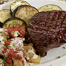 Steak with Papas Bravas